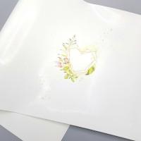 """Переплетный кожзам (экокожа) с принтом """"GEOMETRY - сердце"""" 25*46 см, глянцевый белый"""