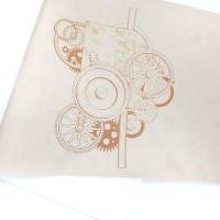 """Переплетный кожзам (экокожа) с принтом """"Механика"""" рыжий 25*46 см, матовый латте"""