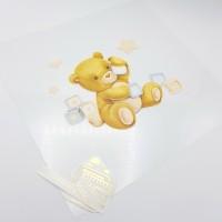 """Комплект / Ацетатный лист с метрикой  """"Малыш медвежонок"""", 30*30 см., светлый, двухсторонний"""