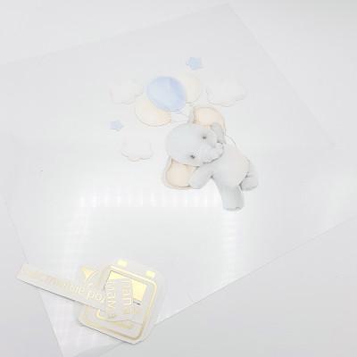 """_Комплект / Ацетатный лист с метрикой """"Слоник с шариком"""", 30*30 см., двухсторонний"""