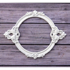 Металлическая рамка для записей Барокко круглая, цвет Белый