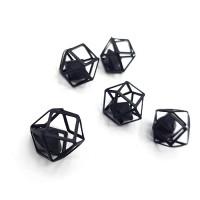 """Декор """"Матовый многогранник с алмазом"""" 12мм, черный"""