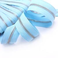 Молния металлическая №5, серебро / светло-голубая