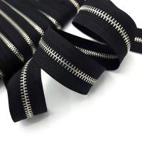 Молния металлическая №5, серебро / черная