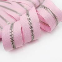 Молния металлическая №5, серебро / светло-розовая