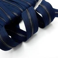 Молния металлическая №5, черный металл / темно-синяя