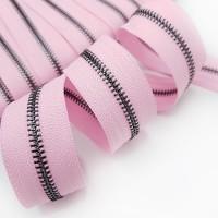 Молния металлическая №5, черный металл / светло-розовая