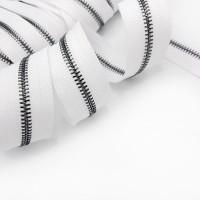 УЦЕНКА Молния металлическая №5 / 15 см / черный металл / белая