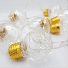 """Гирлянда """"Лампочки"""" 4 метра, 10 лампочек, цвет теплый белый"""