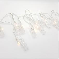 """Гирлянда """"Прищепочки"""" 1,5 метра, 10 лампочек, цвет теплый белый"""