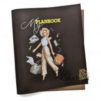 """Переплетный кожзам (экокожа) с принтом """"Planbook- Нэнси / блондинка"""" 26*46 см., матовый горький шоколад"""