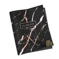 """Переплетный кожзам КП (экокожа) с принтом """"Planbook - брызги / розовое золото Soft"""" 26*46 см., матовый черный"""
