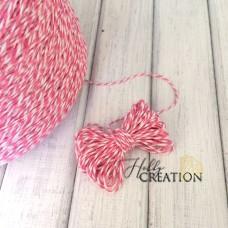 Шпагат двухцветный 2мм, бело-розовый, 10метров