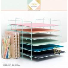 """Настольный органайзер для хранения скрапбумаги """"Desktop Storage Paper Rack"""", мятный"""
