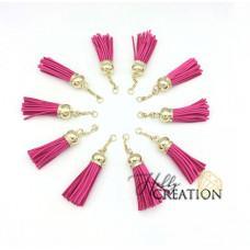 Кисточка замшевая 7см, с цепочкой, ярко-розовая