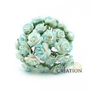 Mini розы II 1,5 см - Бирюзово-белые