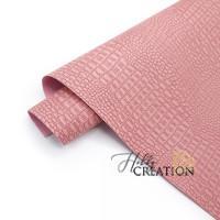 _Переплетный кожзам (экокожа) тиснение крокодил 18*28 см., пудрово-розовый